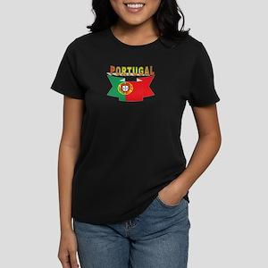portugal flag ribbon Women's Dark T-Shirt