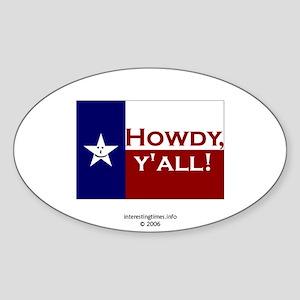 Howdy, y'all! Oval Sticker