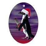 Evil Chainsaw Santa Penguin Oval Ornament