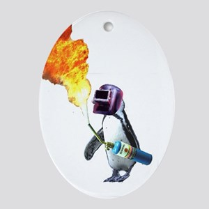 Penguin fire Oval Ornament
