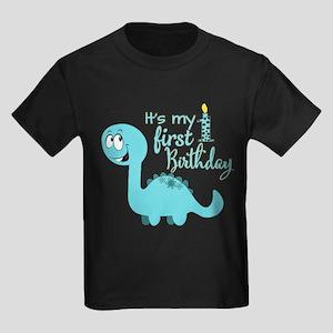 Dinosaur First Birthday Kids Dark T-Shirt