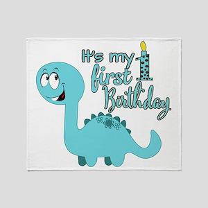 Dinosaur First Birthday Throw Blanket