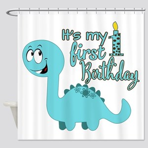 Dinosaur First Birthday Shower Curtain
