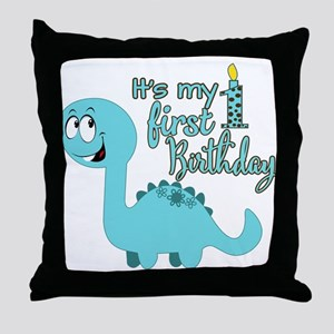 Dinosaur First Birthday Throw Pillow