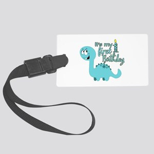 Dinosaur First Birthday Large Luggage Tag