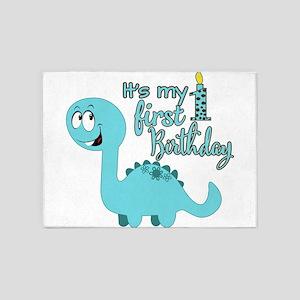 Dinosaur First Birthday 5'x7'Area Rug