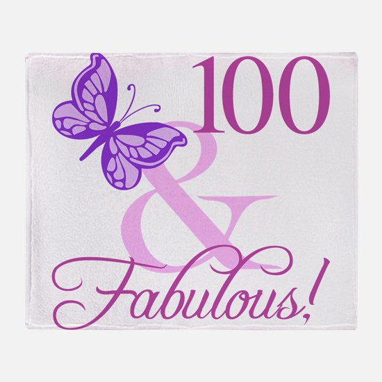Fabulous 100th Birthday For Women Throw Blanket