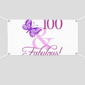 Fabulous 100th Birthday For Women Banner