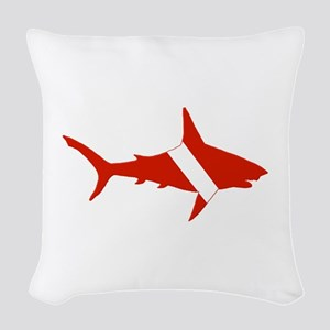 Shark Diver Woven Throw Pillow