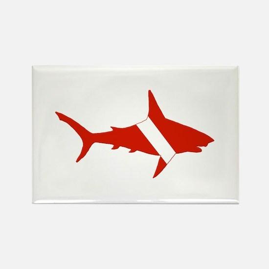Shark Diver Rectangle Magnet