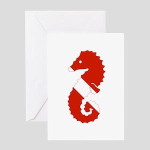 Seahorse Diver Greeting Card