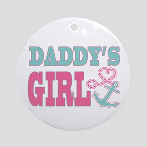 Daddys Girl Boat Anchor and Heart Ornament (Round)