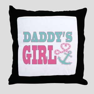 Daddys Girl Boat Anchor and Heart Throw Pillow