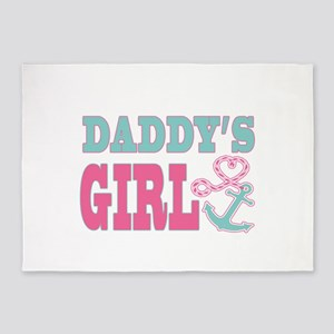 Daddys Girl Boat Anchor and Heart 5'x7'Area Rug