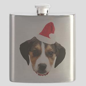 Beagle_Xmas_face005 Flask