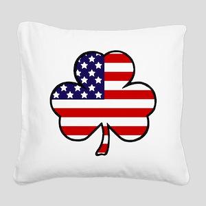 'USA Shamrock' Square Canvas Pillow