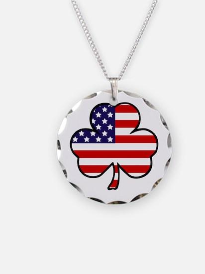 'USA Shamrock' Necklace Circle Charm