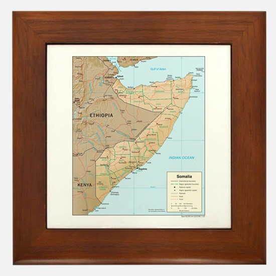 Somalia Map Framed Tile