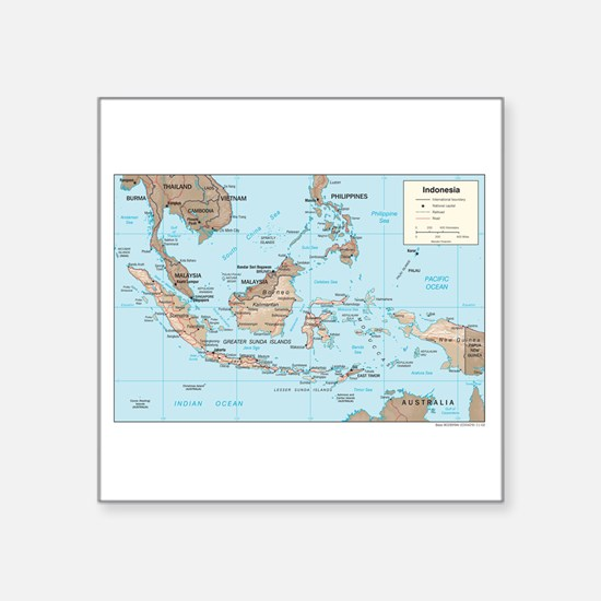 "Indonesia Map Square Sticker 3"" x 3"""