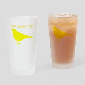Custom Yellow Robin Silhouette Drinking Glass