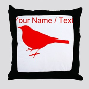 Custom Red Robin Silhouette Throw Pillow