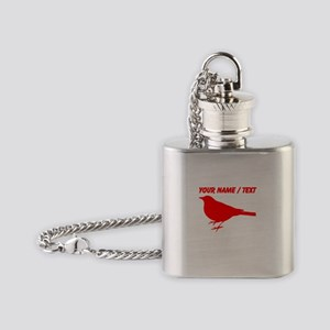 Custom Red Robin Silhouette Flask Necklace