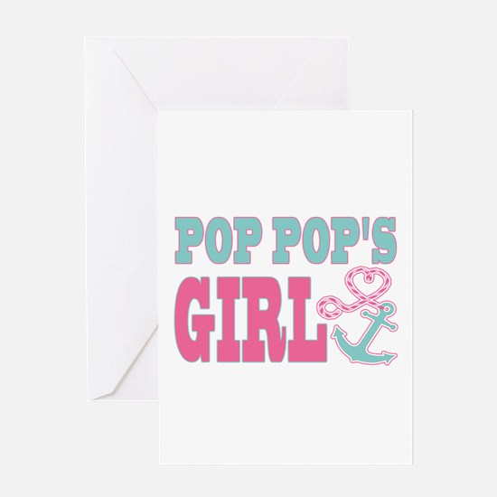 Pop Pops Girl Boat Anchor and Heart Greeting Cards