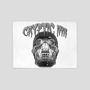 Cryptic Ink Crystal Skull 5'x7'Area Rug