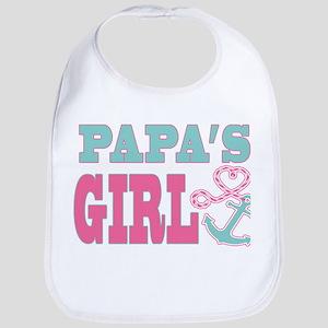 Papas Girl Boat Anchor and Heart Bib