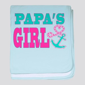 Papas Girl Boat Anchor and Heart baby blanket