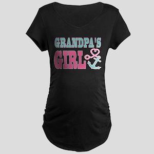 Grandpas Girl Boat Anchor and Heart Maternity T-Sh