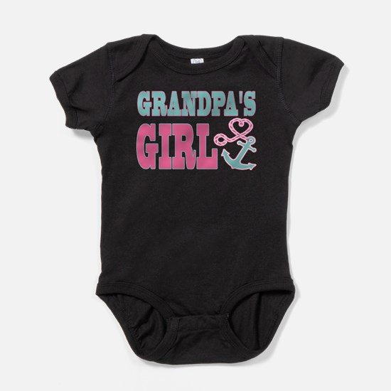 Grandpas Girl Boat Anchor and Heart Baby Bodysuit
