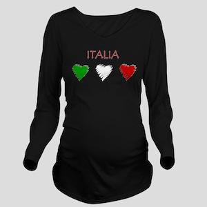Italia Hearts Long Sleeve Maternity T-Shirt