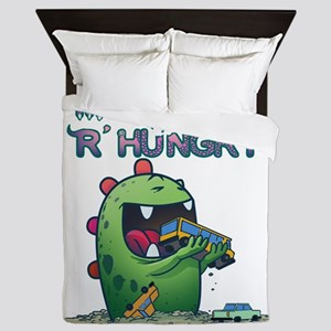 Monsters are hungry Queen Duvet