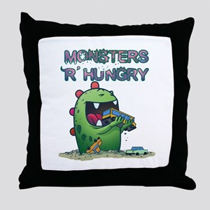Monsters are hungry Throw Pillow