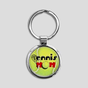 Tennis Mom Round Keychain