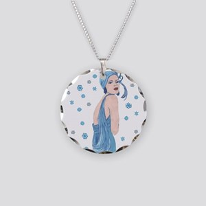 Blue Flapper Christmas Necklace