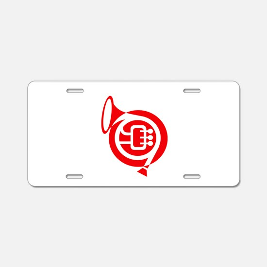 french horn stylized simple red Aluminum License P