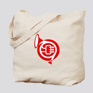 french horn stylized simple red Tote Bag