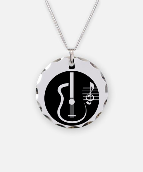 guitar abstract cutout with notes Necklace