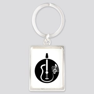 guitar abstract cutout with notes Keychains