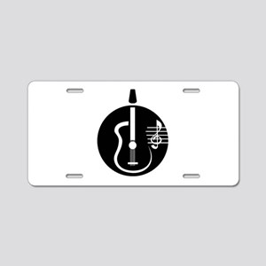guitar abstract cutout with notes Aluminum License