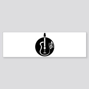 guitar abstract cutout with notes Bumper Sticker