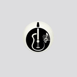 guitar abstract cutout with notes Mini Button