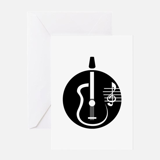 guitar abstract cutout with notes Greeting Cards
