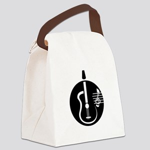 guitar abstract cutout with notes Canvas Lunch Bag
