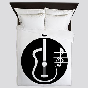guitar abstract cutout with notes Queen Duvet