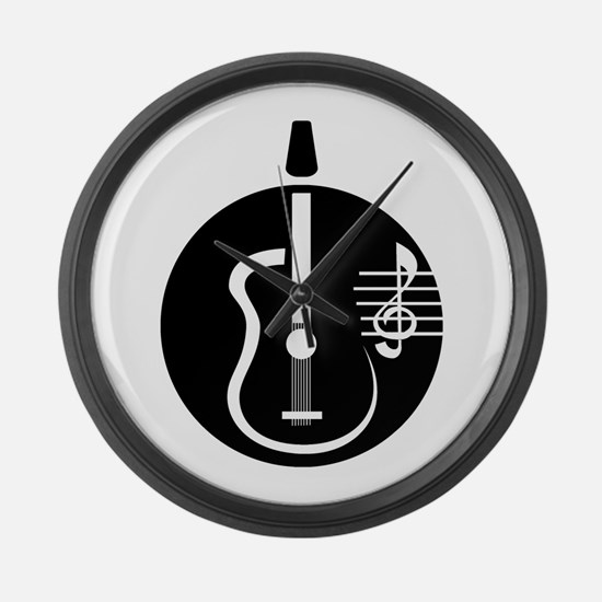 guitar abstract cutout with notes Large Wall Clock