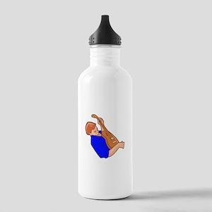 guitar player man sideways blue Water Bottle