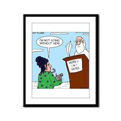 Cat Lady in Heaven Framed Panel Print